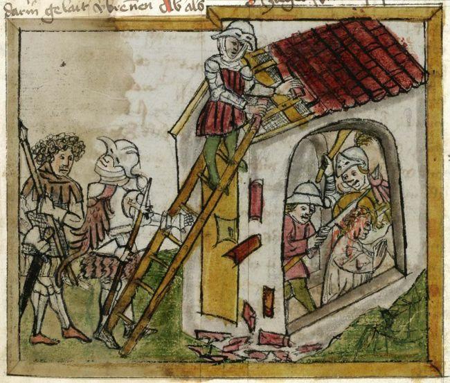 Cuonrad Sailer (?): Den hellige Wiboradas martyrium, ca 1451, bokillustrasjon fra Heiligenleben, Codex 602 i klosterbiblioteket i St. Gallen, s. 345