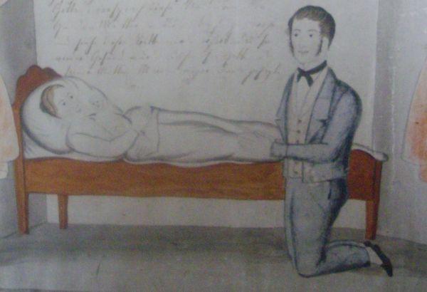 ex voto frau im bett mit mut kniendem mann 1859